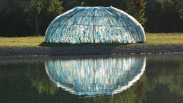 Art installation with plastic bottles Alejandro Guzzetti